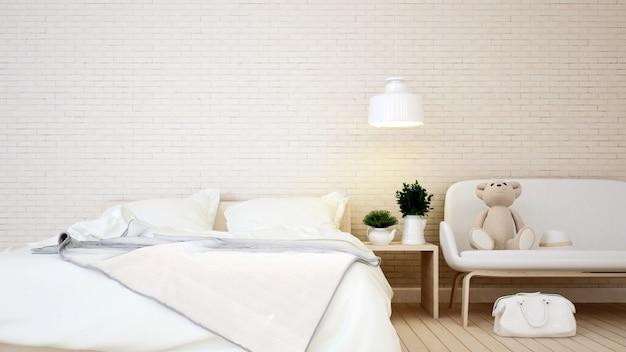 Kinderraum und wohnbereich in der wohnung oder im haus - wiedergabe 3d