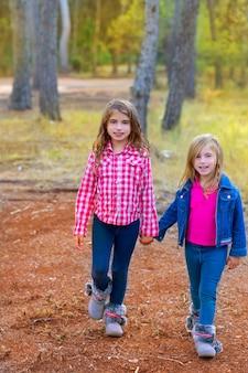 Kinderschwestermädchen, die am kiefernwald gehen