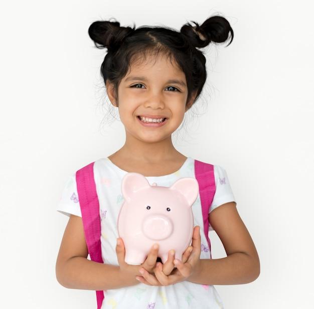 Kinderstudio-trieb-geste piggybank-holding