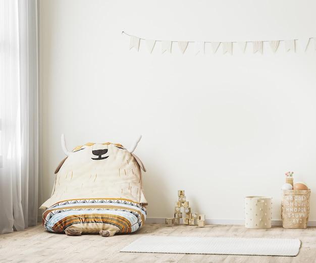 Kinderwand, kinderspielzimmerinnenraum, skandinavischer stil in 3d-rendering