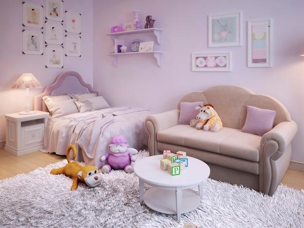 Kinderzimmer für ein mädchen im klassischen stil in pink