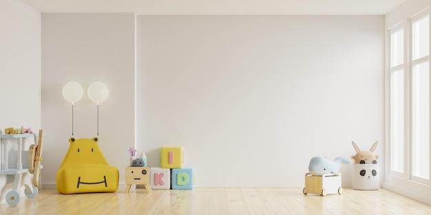 Kinderzimmer in hellem hellweißem farbwandhintergrund. 3d-darstellung