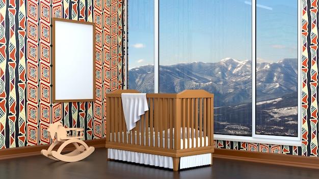 Kinderzimmer mit einem kinderbett und einem leeren rahmen
