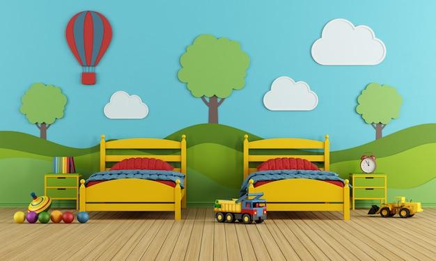 Kinderzimmer mit gelbem bett und dekoration an der wand