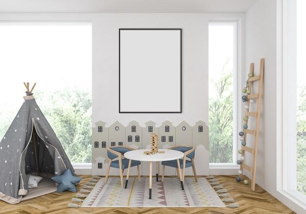Kinderzimmer mit leerem vertikalem rahmen