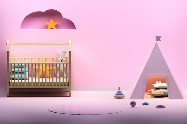 Kinderzimmer mit rosa wigwam