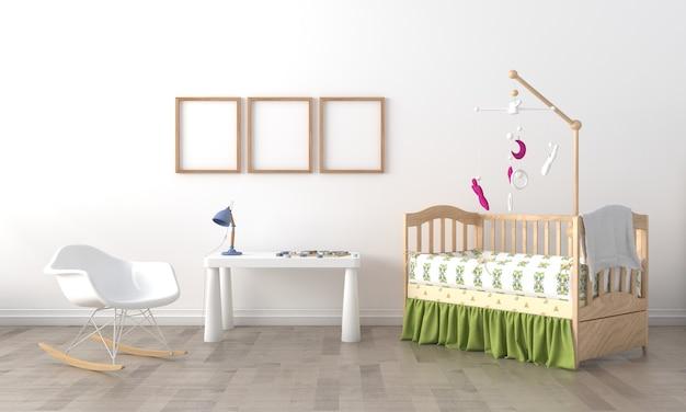 Kinderzimmer, spielhaus, kindermöbel mit spielzeug und modell mit drei rahmen