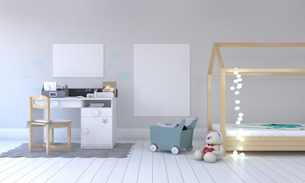 Kinderzimmer, spielhaus, kindermöbel mit spielzeug und modell mit zwei rahmen