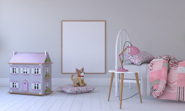 Kinderzimmer, spielhaus, kindermöbel mit spielzeug und rahmenmodell