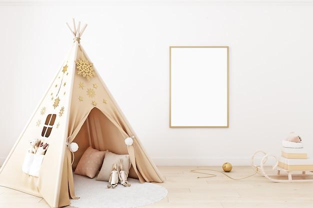 Kinderzimmer-weihnachtsraummodell im boho-stil