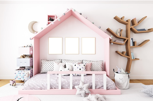 Kinderzimmermodell mit drei rahmen auf dem hintergrund eines rosa hauses
