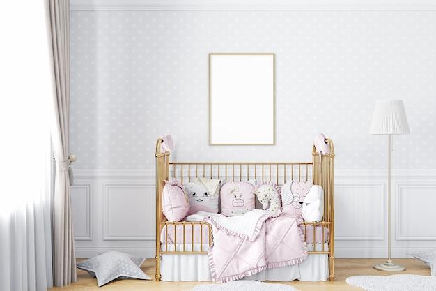 Kinderzimmerrahmenmodell a4 mit grauer tapete