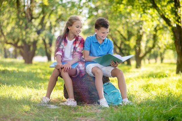 Kindheit. fröhlicher lächelnder junge und mädchen, die am sommertag auf einem baumstumpf auf grünem rasen im park kommunizieren