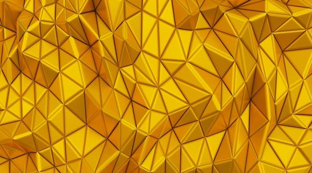 Kino 4d-darstellung der abstrakten goldhintergrundillustration des fünfecks