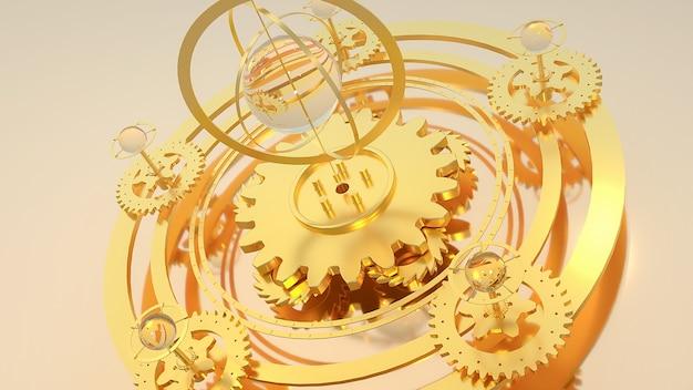 Kino 4d-rendering des abstrakten hintergrunds goldene zahnraddrehung, die einen globus bildet