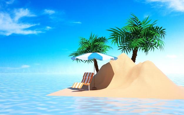 Kino 4d-rendering des sommerhintergrundes am sandstrand