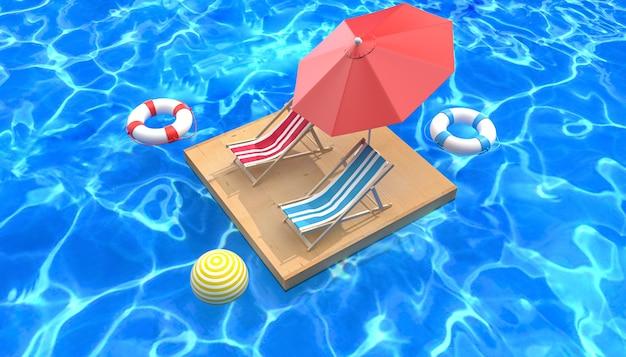 Kino 4d-rendering des sommerhintergrunds, der sich am pool entspannt
