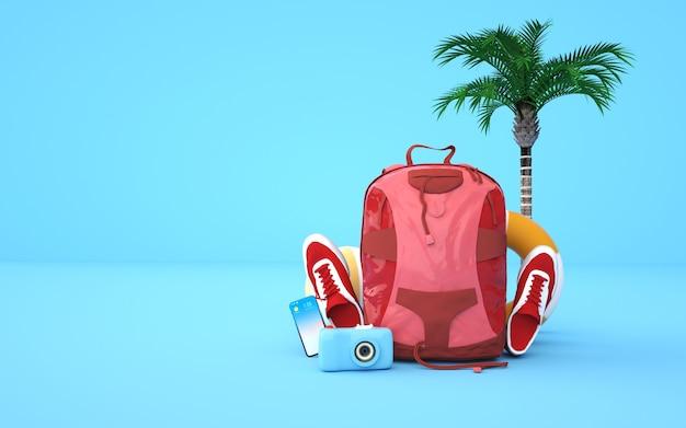 Kino 4d-rendering-hintergrund des sommerhintergrunds mit urlaubsausrüstung