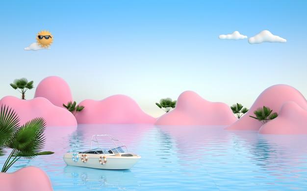 Kino 4d-rendering von sommerhintergrund mit meerwasserblick