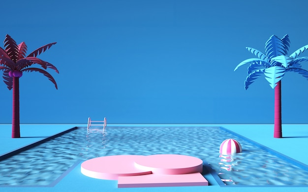 Kino 4d-rendering von sommerhintergrund mit schwimmbad und podium für werbeprodukte