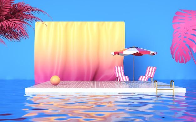 Kino 4d-rendering von sommerhintergrund mit schwimmbad und podium