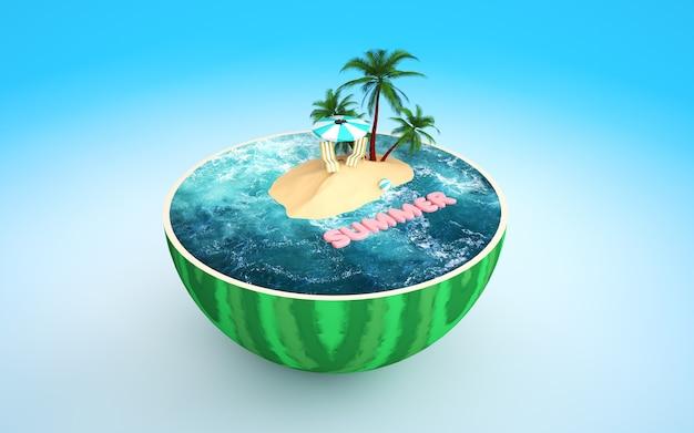 Kino 4d-rendering von sommerstrand und wassermelonen-illustrationshintergrund
