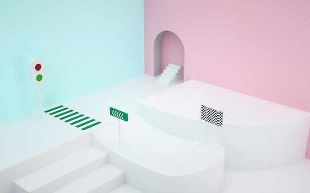 Kino darstellung des abstrakten raumes mit weißem sockel für darstellungsmodell