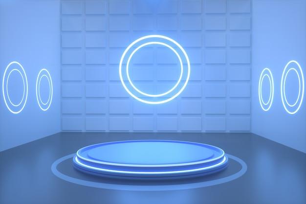 Kino darstellung eines blauen raums mit kreisförmigem neon zur anzeige