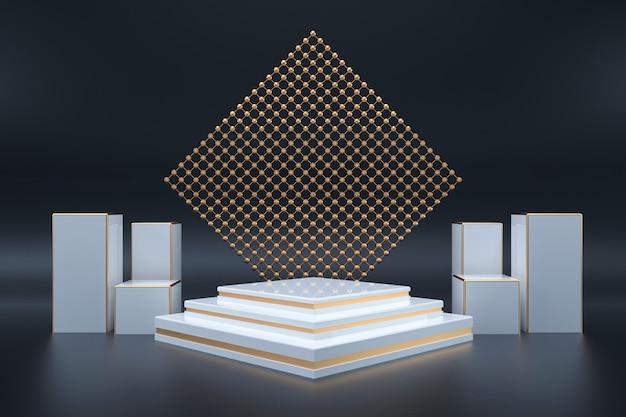 Kino darstellung eines dunklen raums mit weißem podium für das display-modell