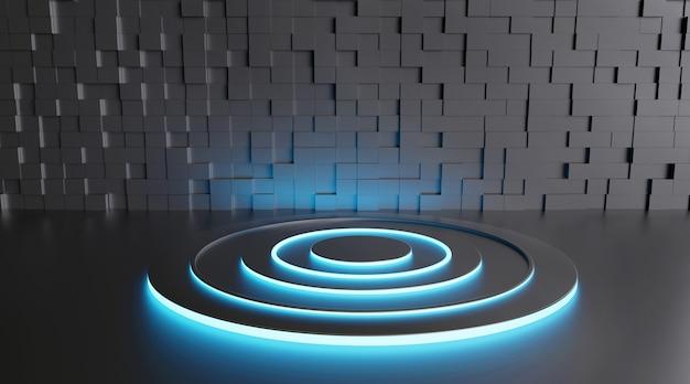 Kino darstellung eines dunklen runden sockels mit neonblauen lichtern