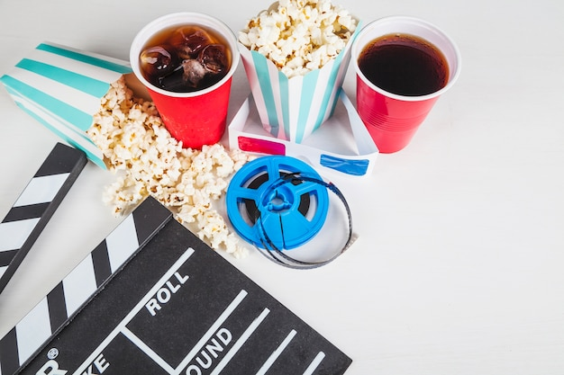 Kino-essen, filmspule und filmklappe