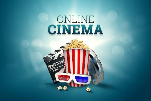 Kino, kinoattribute, kinos, filme, online-viewing, popcorn und gläser.