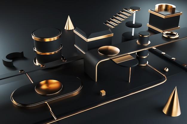 Kino-rendering der schwarzen geometrischen zusammenfassung mit goldenen linien für darstellungsmodell