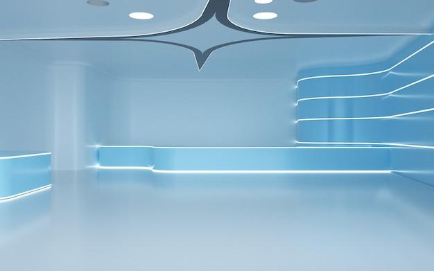 Kino-rendering des abstrakten raumes mit neonlichtdekoration für darstellungsmodell
