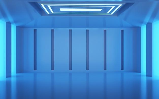 Kino-rendering des blauen raumes mit neonlichtdekoration für display-modell