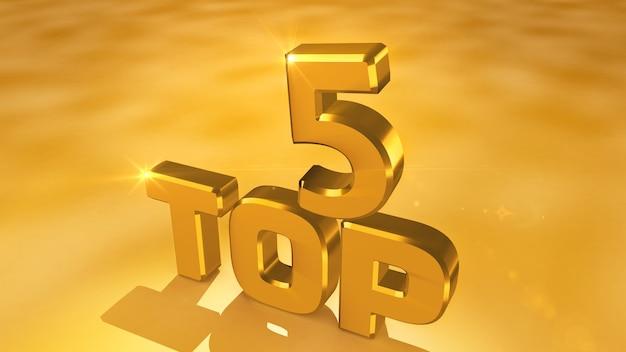 Kino-rendering von abstrakten goldmedaillen aus den top 5