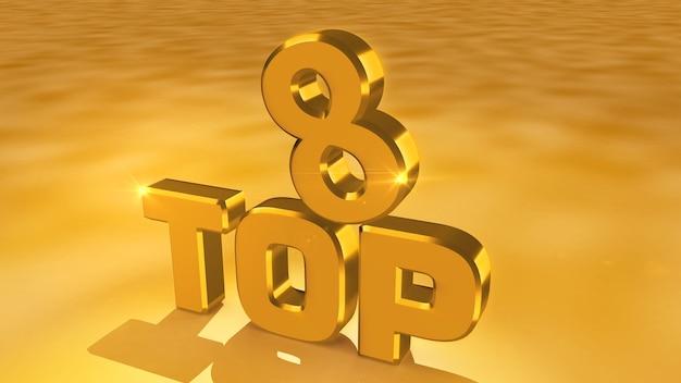 Kino-rendering von abstrakten goldmedaillen aus den top acht