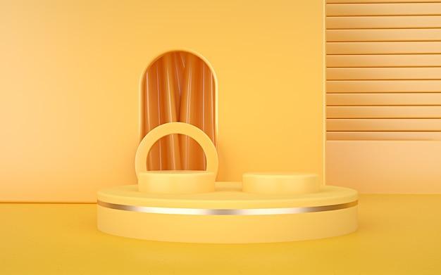 Kino rendering von gelb mit sockel für display-modell