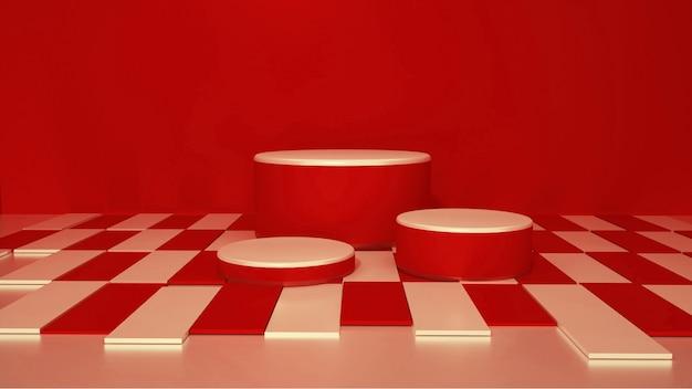 Kino rendering von rot mit würfelsockel für display-modell