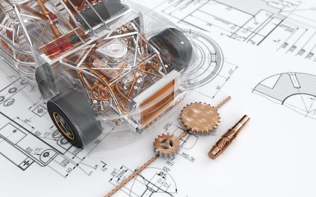 Kino-renderings eines abstrakten plans die schaffung eines spielzeugautos