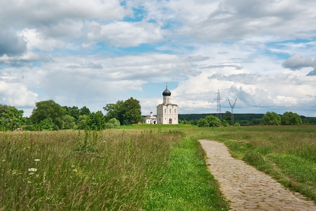 Kirche der heiligen jungfrau am fluss nerl, bogolyubovo, russland. erhaltene wiese in der nähe der kirche
