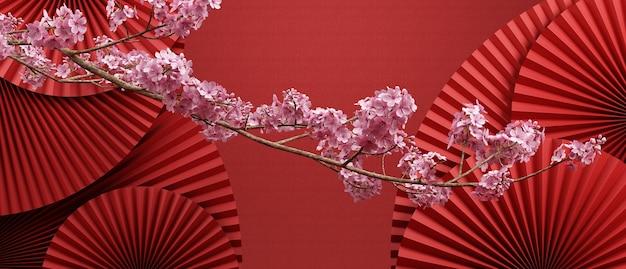 Kirschblüte im chinesischen stil und roter chinesischer pfannenhintergrund für die produktpräsentation 3d-rendering