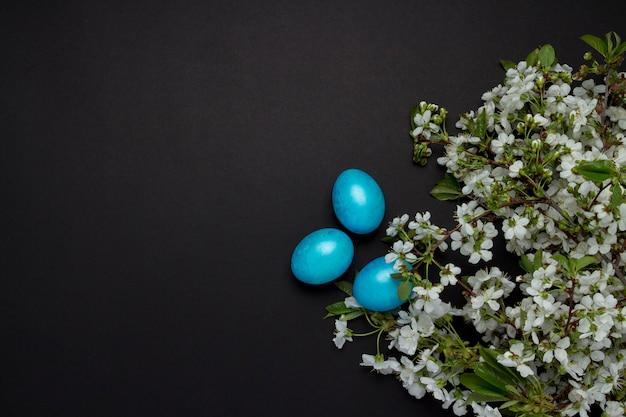 Kirschblütenzweig und ostern blaue eier auf dem schwarzen hintergrund.