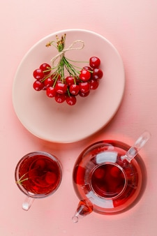 Kirschen in einer platte mit tee draufsicht auf einem rosa tisch