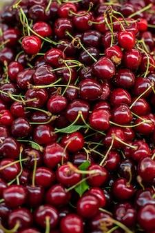 Kirschhintergrund, frischer reifer kirschansichtsmarkt