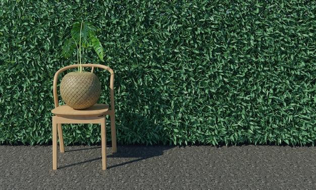 Kirschlorbeerhecke und stühle und blumentöpfe 3d-rendering Premium Fotos
