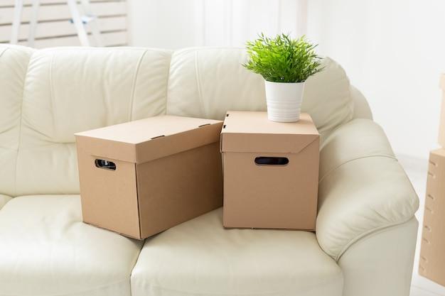 Kisten mit dingen und einer blume im topf stehen auf der couch während des umzugs der bewohner in eine neue