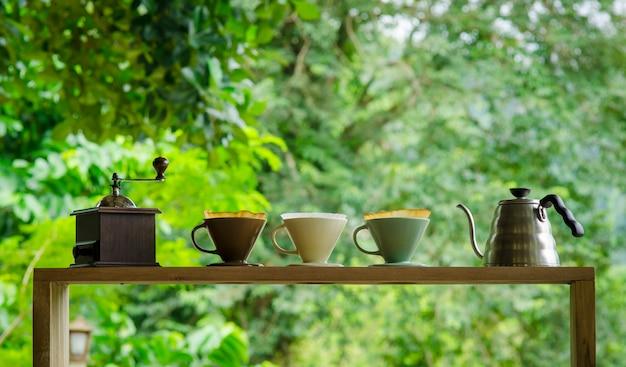 Kits für die zubereitung von frischem kaffee