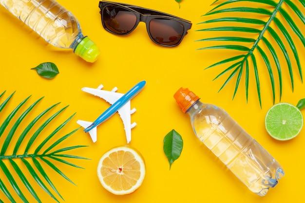 Klare wasserflasche und spielzeugflugzeug. tourismus und klares wasser konzept