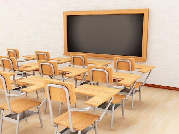 Klassenzimmer 3d mit stühlen und tafel.